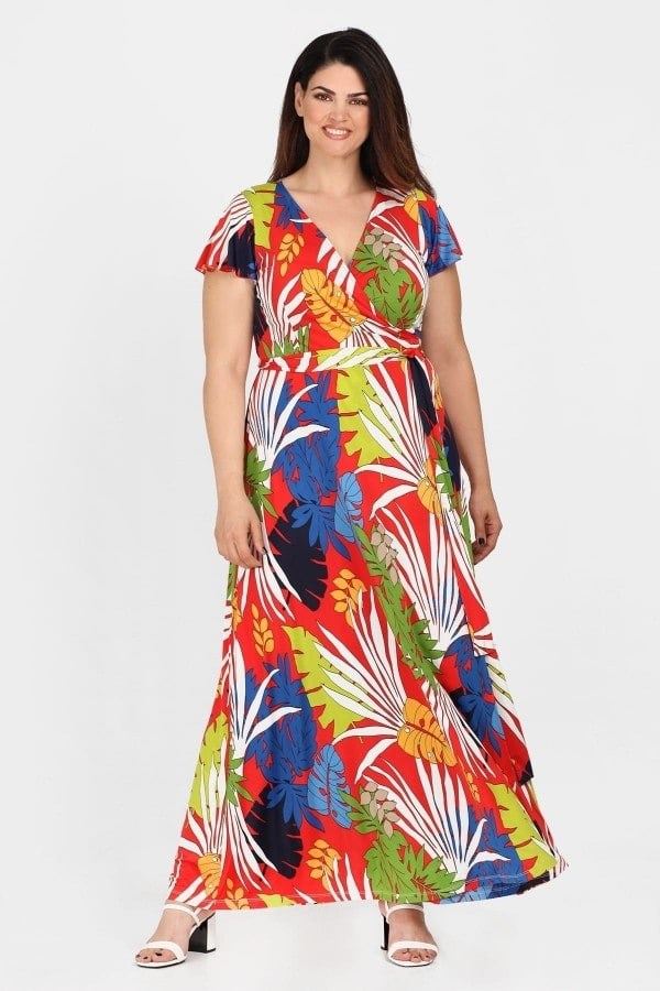 Maxi tropical wrap super jersey dress