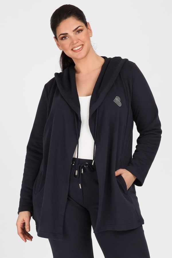 Cotton sporty hooded jacket