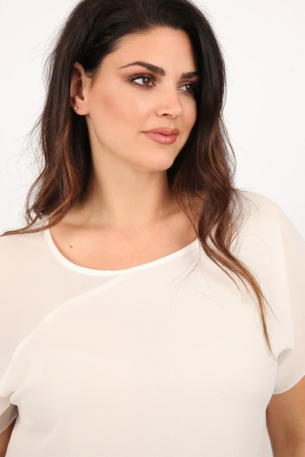 Top with sheer detail on the shoulder