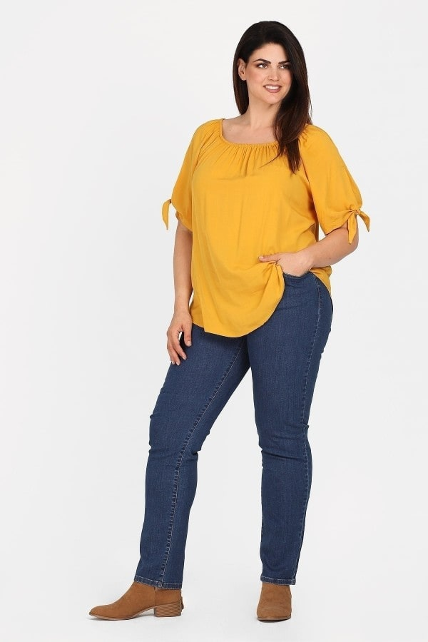 Viscose blouse with elasticated neckline  tie sleeves