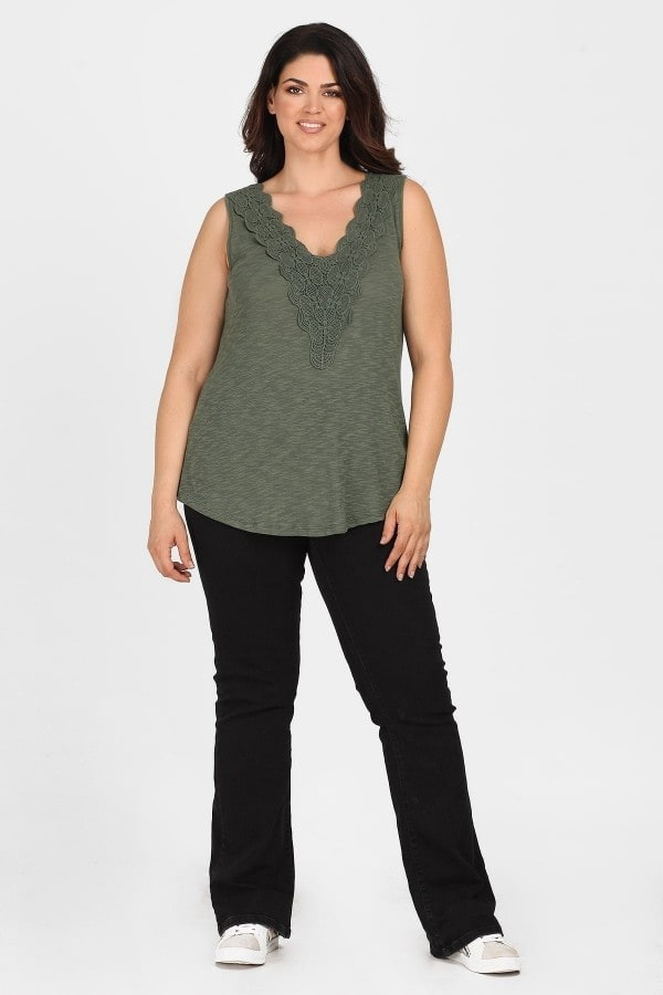 Sleeveless top with embroidery V