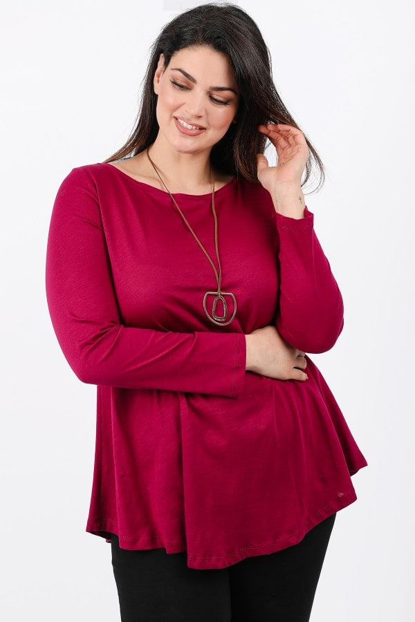Longsleeved blouse with boatneck