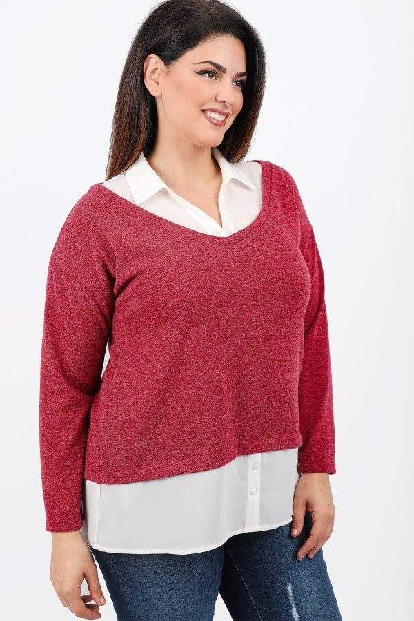 Knit shirtblouse with buttons