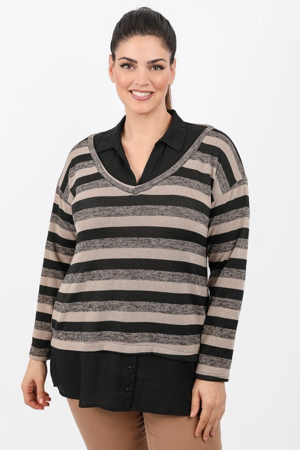 Stripe knit shirtblouse with buttons