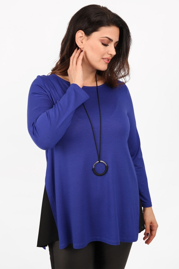 Viscose blouse with georgette hem