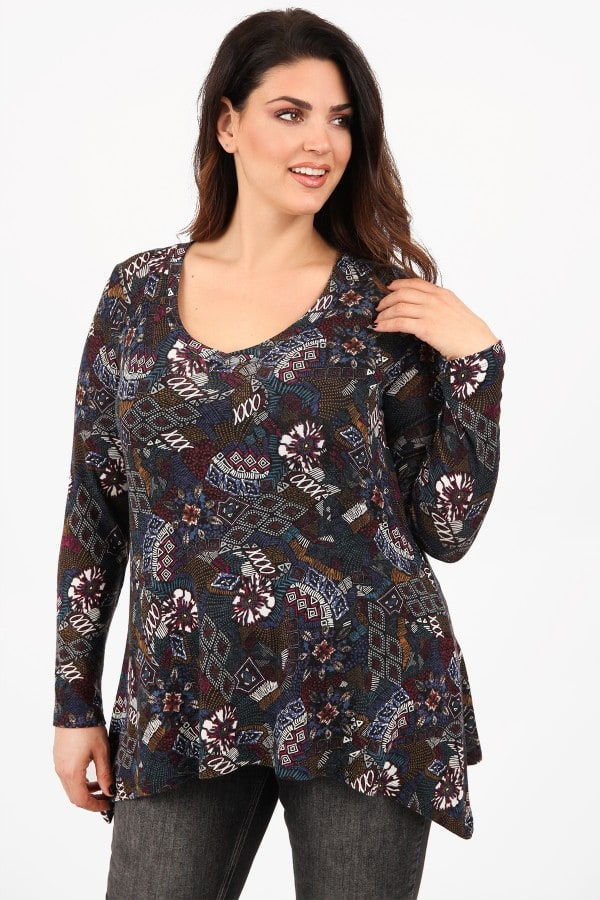 Printed knit blouse with V neck
