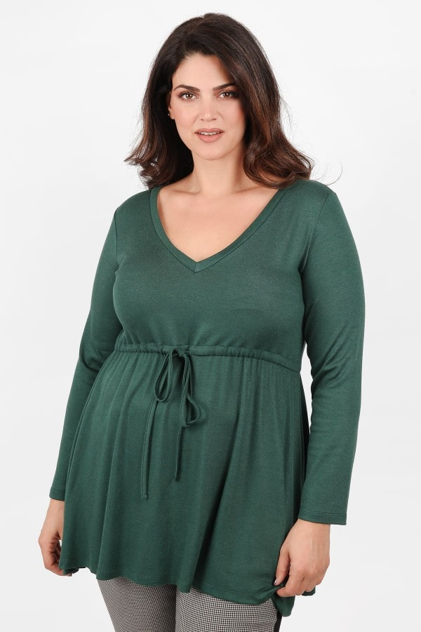 Knit blouse with shirring under the bust