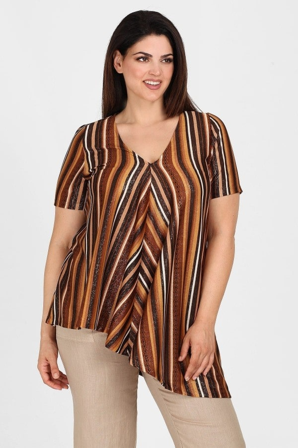 Printed blouse with pleated front