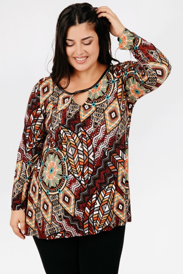 Printed blouse with leather like details