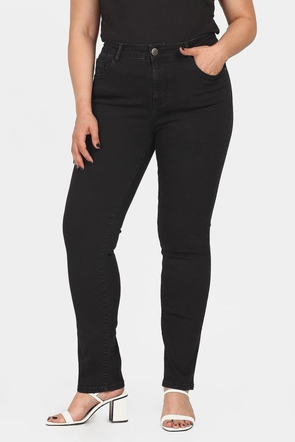 Slim fit denim black trousers