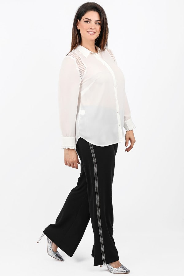 Wide leg trousers with strass on the side