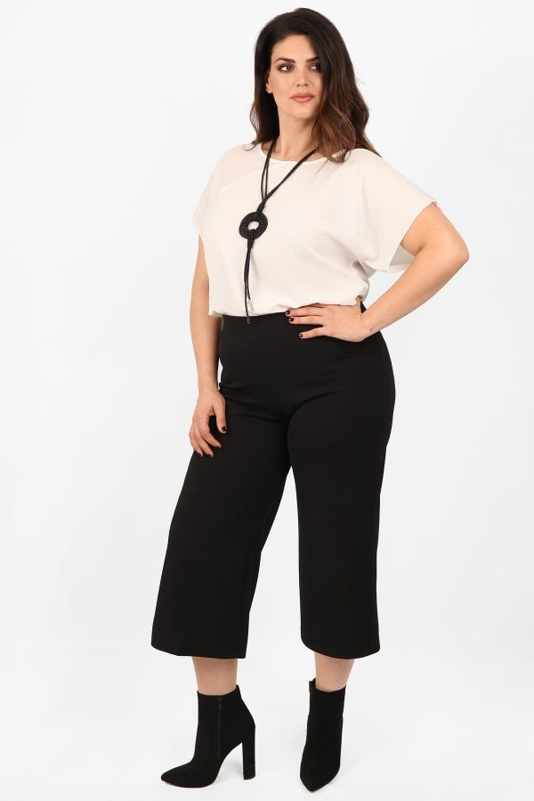 Cropped wide leg trousers with elasticity