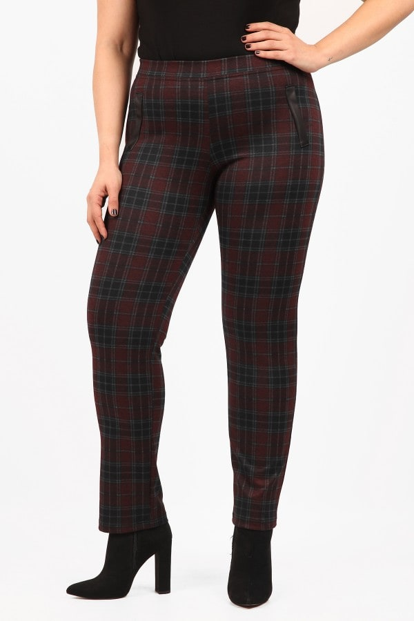 Slim fit checkered trousers with leather like details