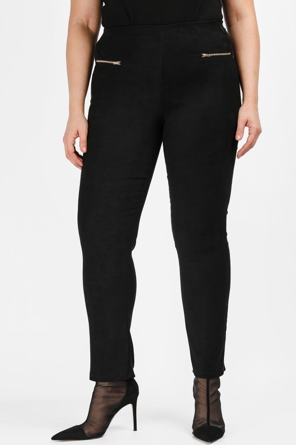 Treggings from suede and zippers on the side