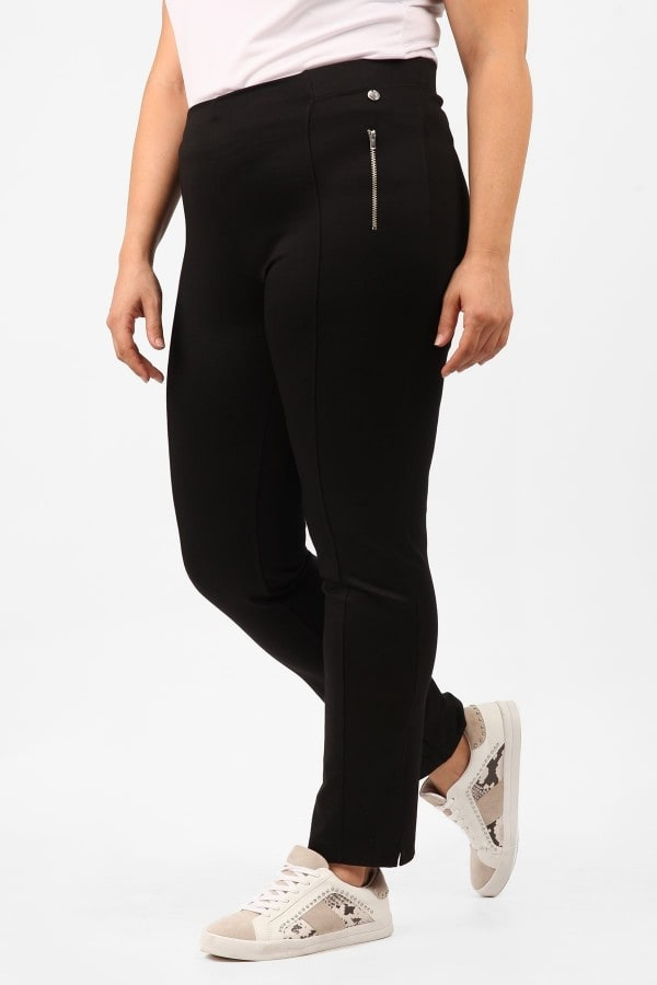 Slim punto trousers with zippers