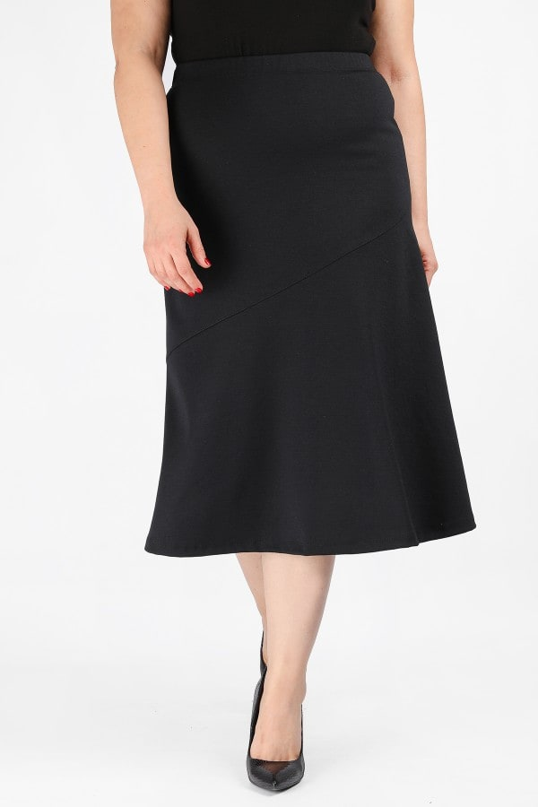 Midi skater skirt with elastic waist