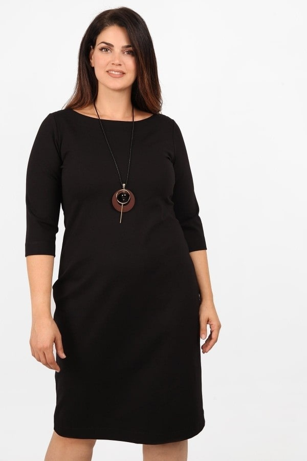 Midi punto dress with pendant
