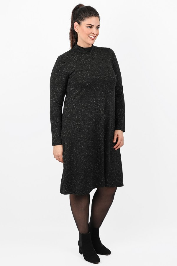 Lurex midi dress turtleneck