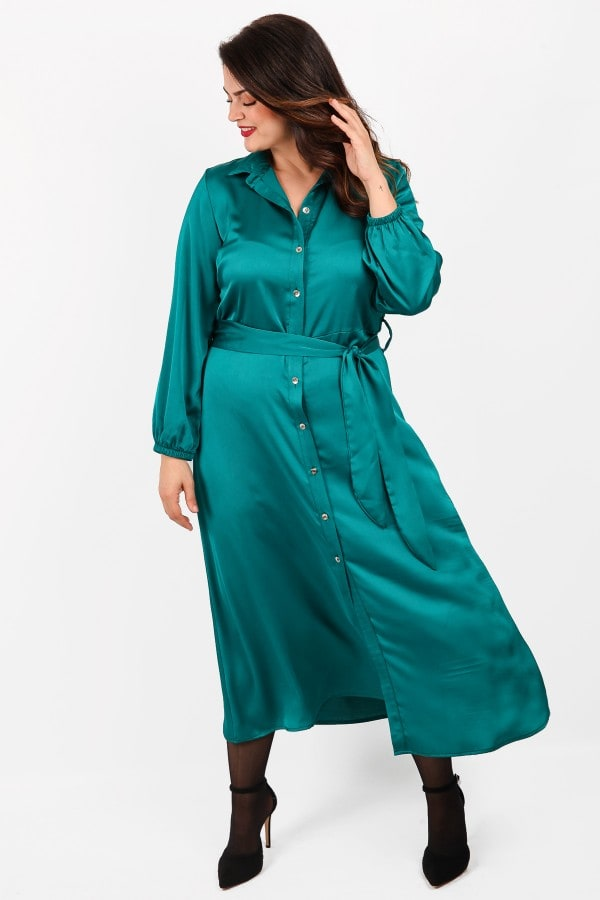 Maxi sateen shirt style dress