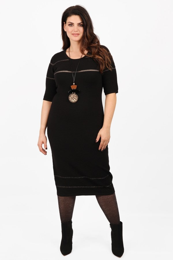 Knit midi dress with lurex and embossed texture