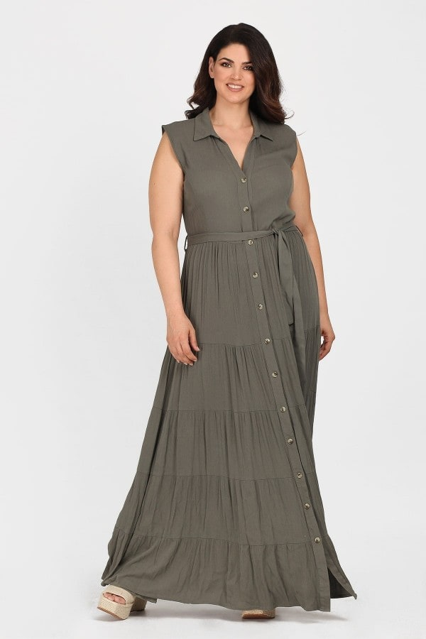 Maxi shirt-dress with ruffles