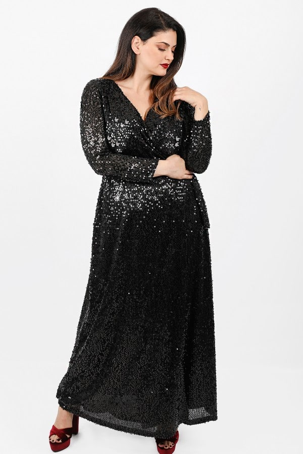 Maxi wrap dress from sequins