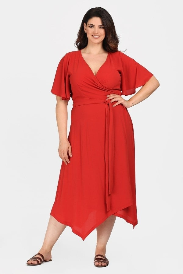 Wrap dress with pointy hem