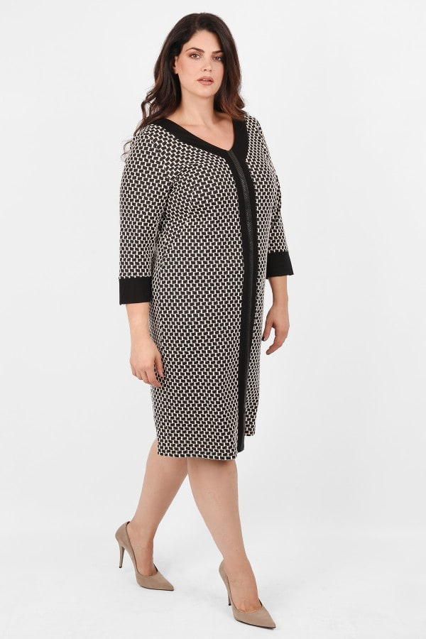 Midi printed dress with vertical stripe