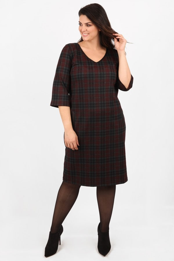Midi checkered dress with leather like details