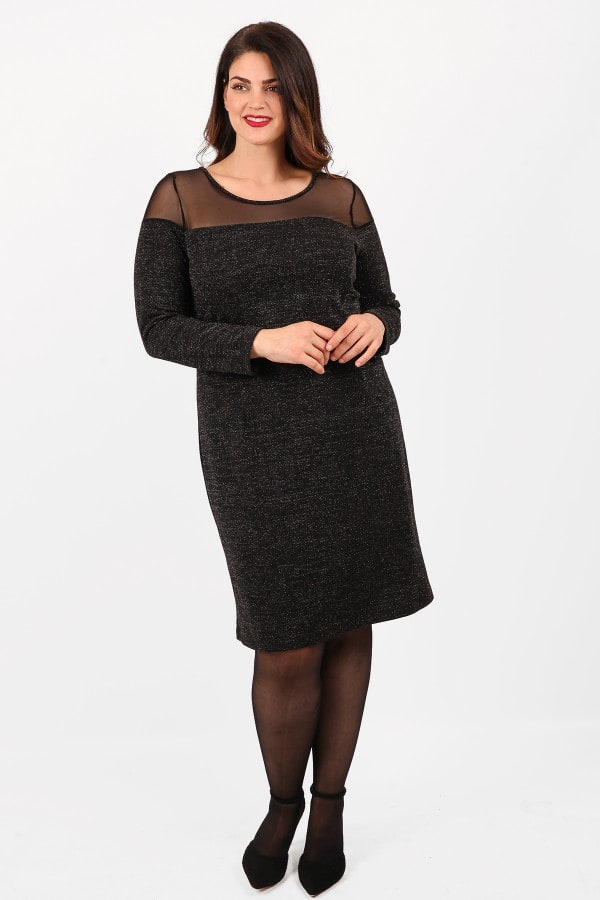 Midi dress with glitter view and mesh