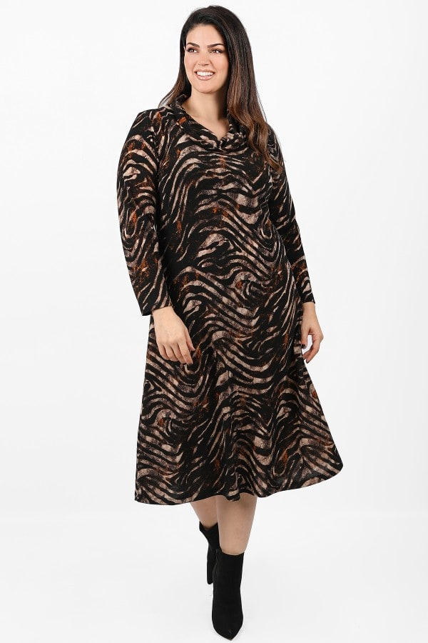 Animal print midi knit turtleneck dress