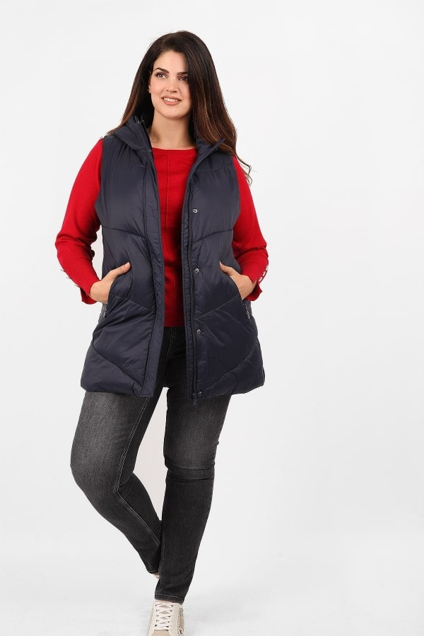 Sleeveless longline hooded puffer jacket