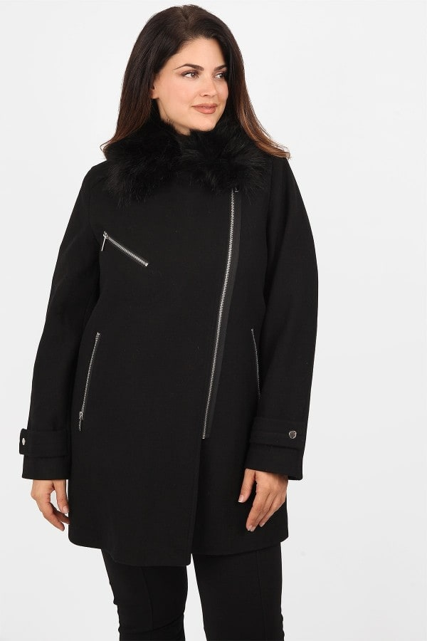 Wool coat with zippers and faux fur collar