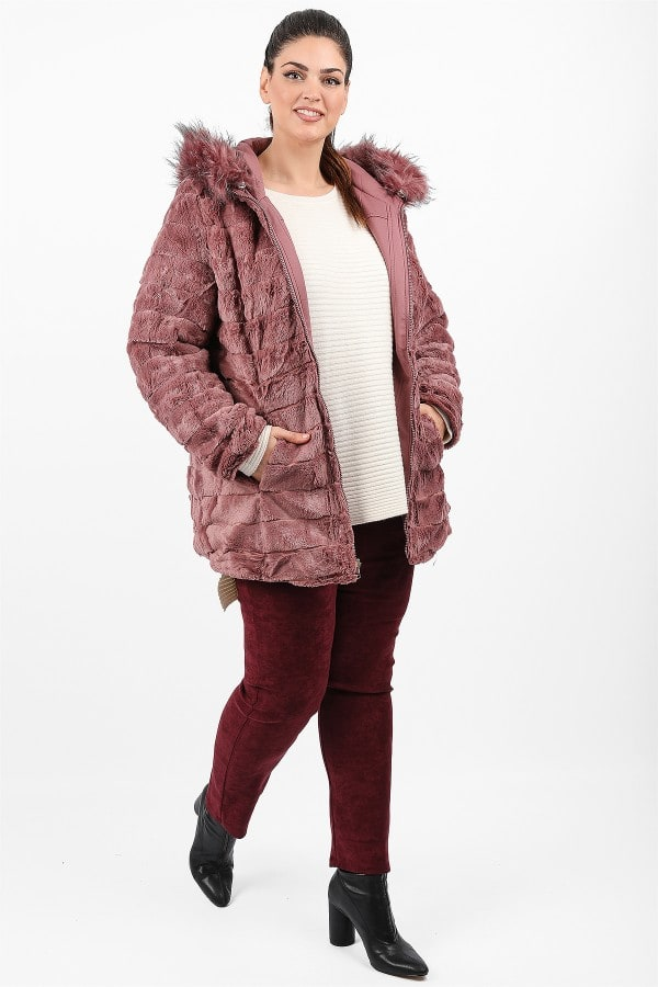 Reversible faux fur jacket with hood
