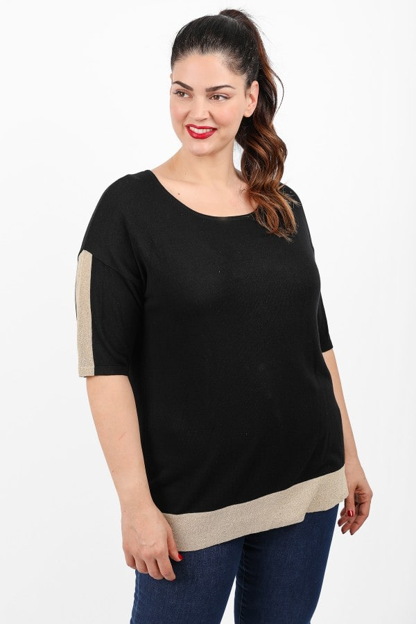 Knit blouse with lurex gold details