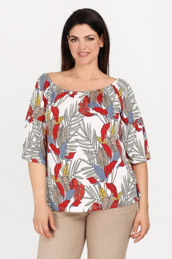 Printed off-shoulder top with bell sleeves