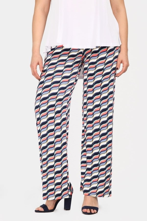 Super jersey print trousers with fluo details
