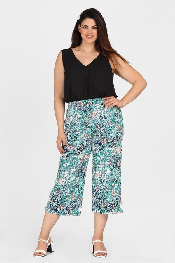 Jersey cropped printed trousers