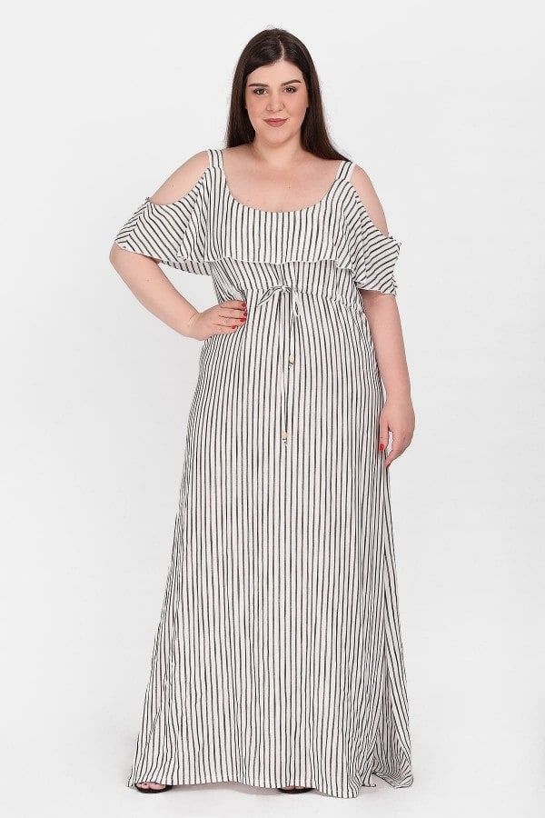 Maxi striped cold-shoulder dress with belt on the waist