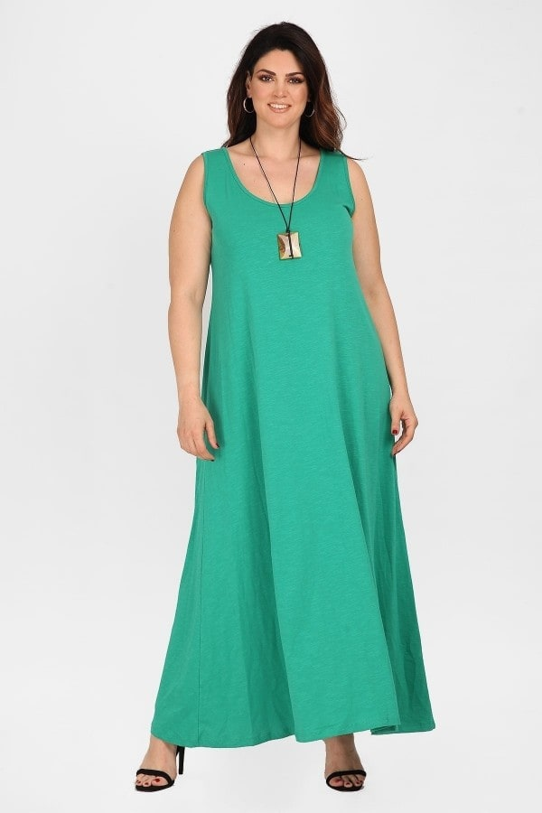 Sleeveless cotton maxi dress  pendant