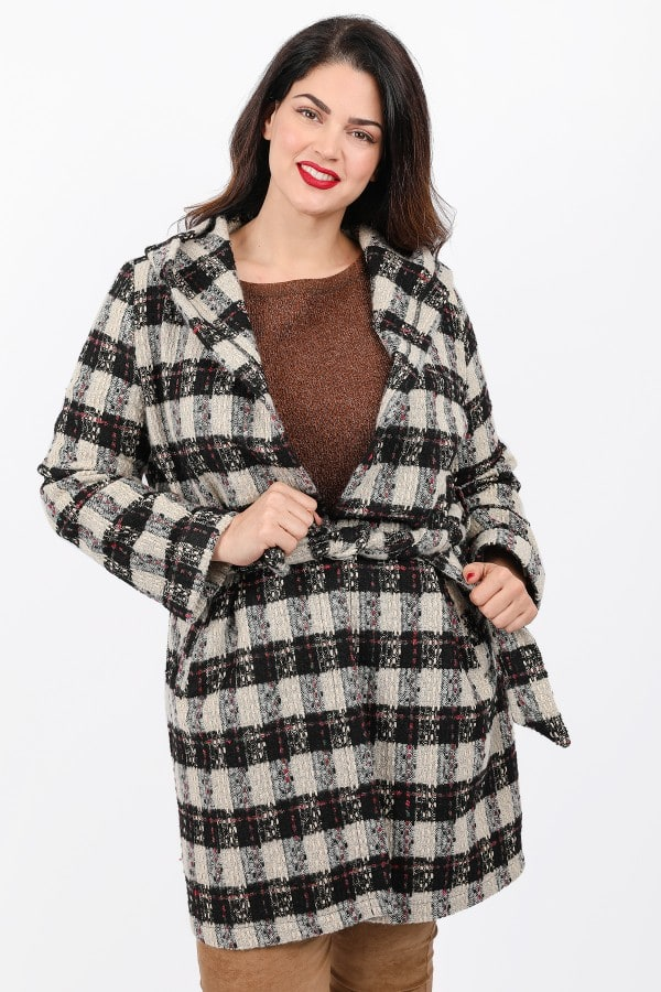 Knit plaid coatigan open front
