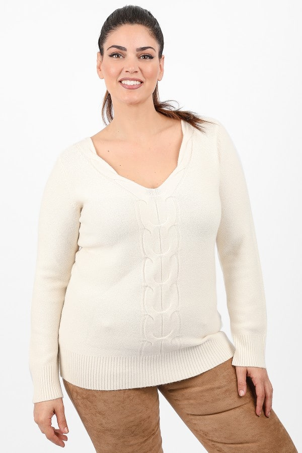 Jumper in V neck and braids pattern
