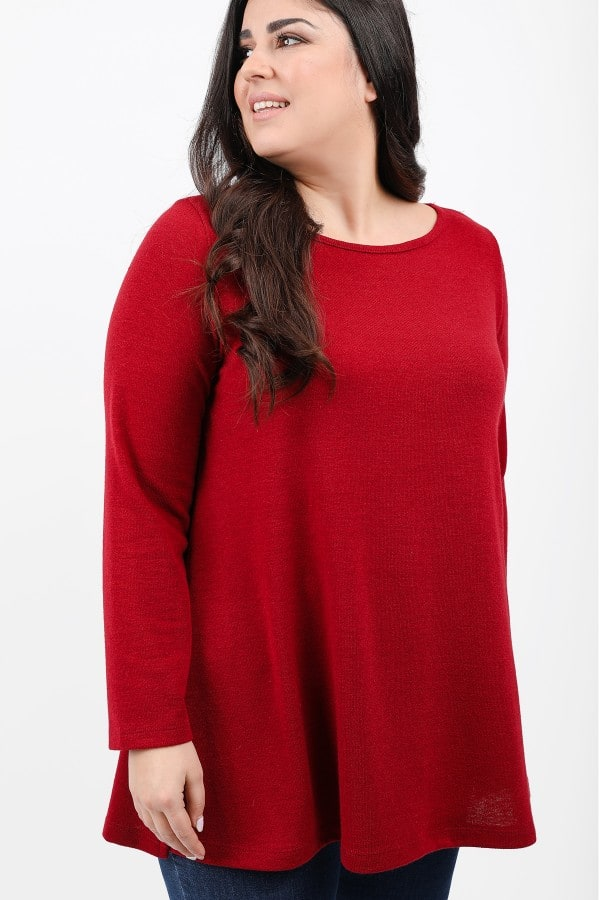 Knit blouse with side splits