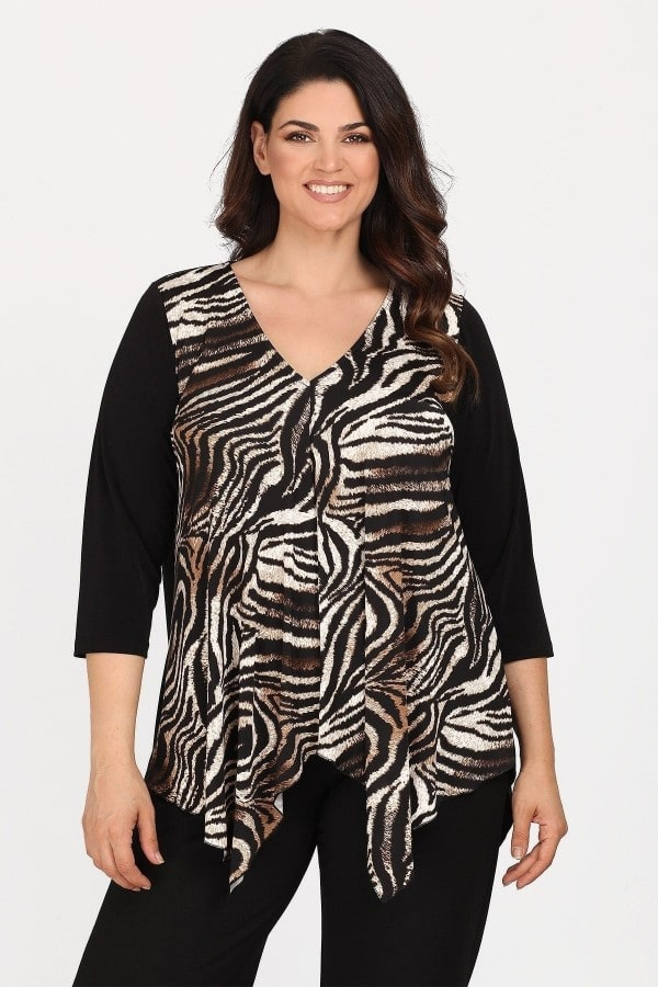 Leopard print blouse with asymetrical hems