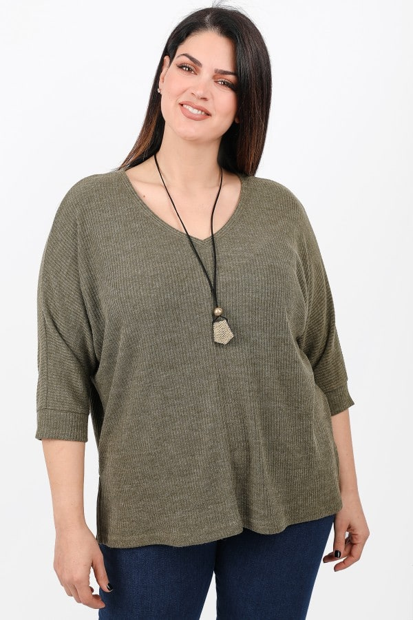 Knit rib blouse with pendant
