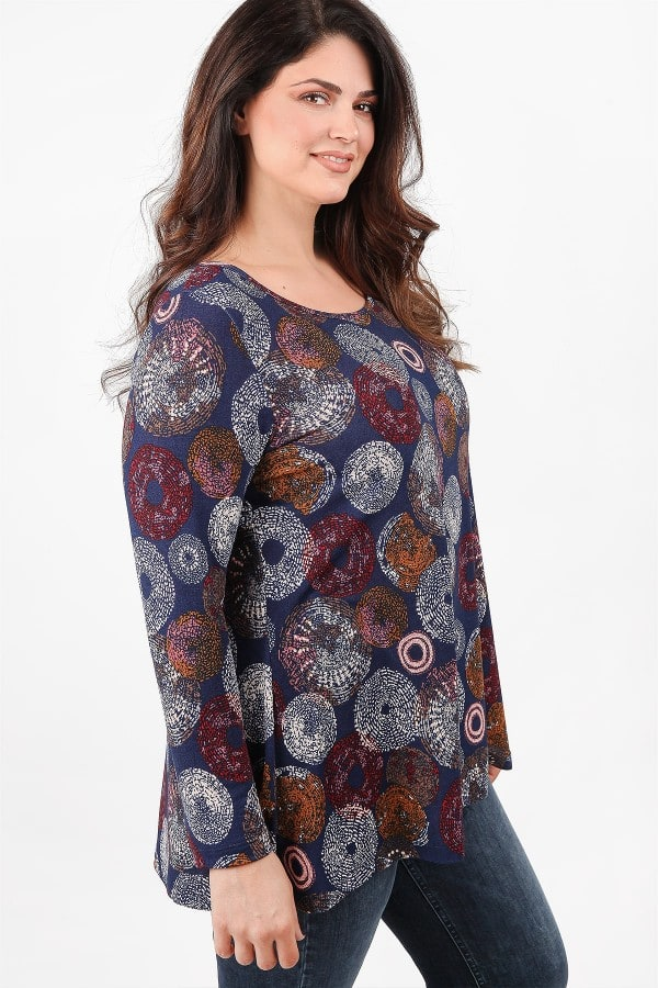 Printed elastic knit blouse