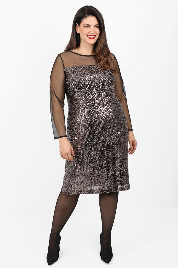 Midi dress from sequins and mesh