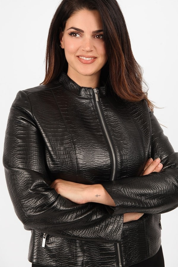 Croco jacket from faux leather