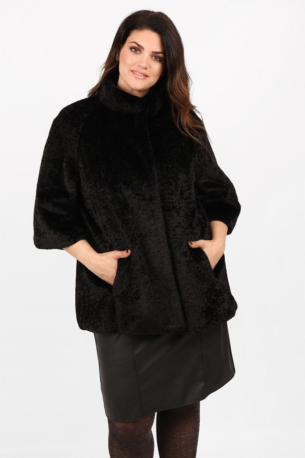 Faux fur coat with bell sleeves