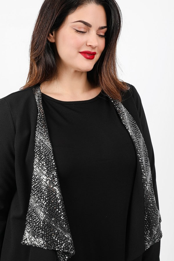 Draped cardigan with sequins